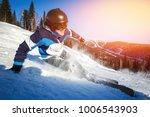 skier man skiing downhill in... | Shutterstock . vector #1006543903