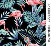 exotic tropical bird pink... | Shutterstock .eps vector #1006555504