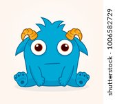 cute cartoon monster. confused... | Shutterstock .eps vector #1006582729