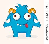 cute cartoon monster. crazy... | Shutterstock .eps vector #1006582750