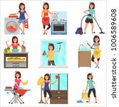 housework at home color flat... | Shutterstock .eps vector #1006589608
