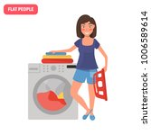 housewife is washing clothes... | Shutterstock .eps vector #1006589614