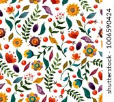 watercolor flowers pattern on... | Shutterstock . vector #1006590424