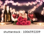 beautiful romantic candle light ... | Shutterstock . vector #1006592209