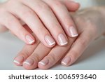 french manicured hand  | Shutterstock . vector #1006593640