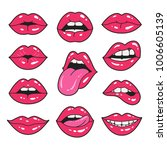 lips patch collection. vector... | Shutterstock .eps vector #1006605139