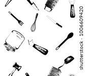 cooking utensils and kitchen... | Shutterstock .eps vector #1006609420