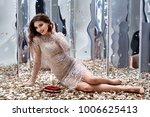 sexy pretty woman sit floor...   Shutterstock . vector #1006625413