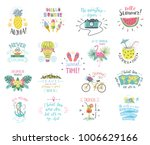 set of summer color hand... | Shutterstock .eps vector #1006629166