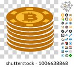 bitcoin casino chips icon with...