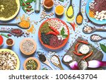 assortment of legumes bowls and ... | Shutterstock . vector #1006643704