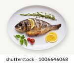 grilled fish on plate isolated... | Shutterstock . vector #1006646068