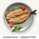 grilled fish fillet on plate... | Shutterstock . vector #1006647349