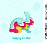happy easter greeting card. 3d... | Shutterstock .eps vector #1006647883
