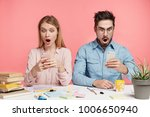 surprised young friends read... | Shutterstock . vector #1006650940