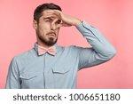 displeased brunet male plugs... | Shutterstock . vector #1006651180