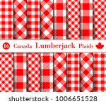 set lumberjack plaid pattern in ... | Shutterstock .eps vector #1006651528