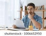 surprised male office director... | Shutterstock . vector #1006652950