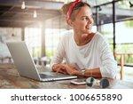 pretty smiling glad female... | Shutterstock . vector #1006655890