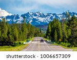 Road from Yellowstone National Park to Grand Teton National Park, Wyoming, USA