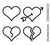 set of outline broken heart...