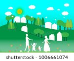 the family is happy and natural ... | Shutterstock .eps vector #1006661074