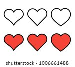 set of outline red heart icons... | Shutterstock .eps vector #1006661488