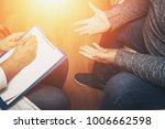 psychologist listening to her...   Shutterstock . vector #1006662598