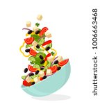 greek salad on a plate with... | Shutterstock .eps vector #1006663468