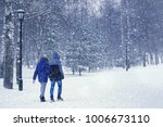 city winter landscape. couple... | Shutterstock . vector #1006673110