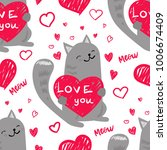 love you  meow. seamless... | Shutterstock .eps vector #1006674409