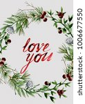 love you watercolor card with... | Shutterstock . vector #1006677550