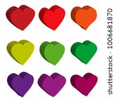 color volumetric love hearts on ... | Shutterstock .eps vector #1006681870