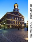 Small photo of BOSTON, USA - APRIL 20: A market place and a meeting hall since 1742, the Faneuil Hall in Boston was also the site of several speeches by Samuel Adams and James Otis. Seen at dusk on April 20, 2012.