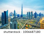 dubai skyline at sunset with... | Shutterstock . vector #1006687180