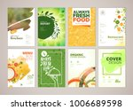 Set of restaurant menu, brochure, flyer design templates in A4 size. Vector illustrations for food and drink marketing material, ads, natural products presentation templates, cover design. | Shutterstock vector #1006689598