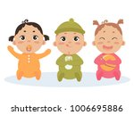 cute vector set of three babies ... | Shutterstock .eps vector #1006695886