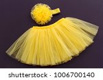 tutu yellow skirt with flower... | Shutterstock . vector #1006700140
