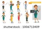 woman working in uniform... | Shutterstock .eps vector #1006713409