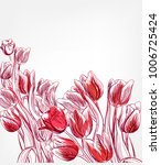Tulips Vector Card Simple