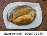 mackerel fry in two plates.   Shutterstock . vector #1006738150