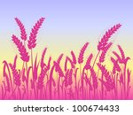 pink wheat silhouettes at field ... | Shutterstock .eps vector #100674433