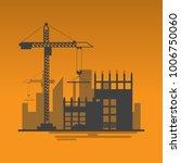 silhouette building site work...   Shutterstock .eps vector #1006750060