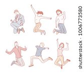 various poses jumping people... | Shutterstock .eps vector #1006773580
