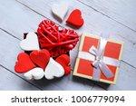 top view of red wooden... | Shutterstock . vector #1006779094