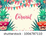 pineapples with carnival mask ... | Shutterstock .eps vector #1006787110