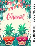 pineapples with carnival mask ... | Shutterstock .eps vector #1006787116