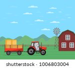 tractor pulling trailer full of ... | Shutterstock .eps vector #1006803004