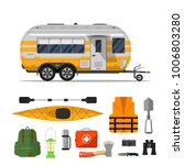 travel life poster with camping ... | Shutterstock .eps vector #1006803280