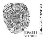 fingerprint with euro sign. | Shutterstock .eps vector #100680544